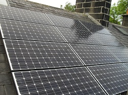 12 x Sanyo HIT N series 235Wp panels, landscape, 2.8kWp solar PV array, Headingley, Leeds