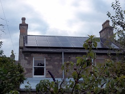 16 x Sanyo H series, 250Wp panels, 4KWp solar PV array, mounted on slate roof