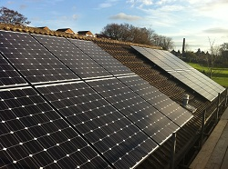 16 x Hyundai Solar pv panels in 2 strings, 3.92 kWp array, Otley