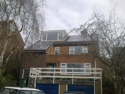14 x Sharp 245Wp panels, giving a 3.4kWp array split across Sunny Boy 2000HF & SB1700 inverters in Horsforth, Leeds