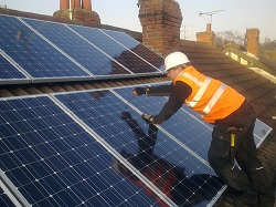12 x Upsolar 190Wp panel solar PV array undergoing final checks, Meanwood, Leeds