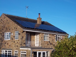 Ultra Efficient system of Sanyo H series panels on Yorkshire Stone roof in Knaresborough
